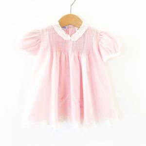 Vintage Osito Pink Embroidered Dress 6-12 Months